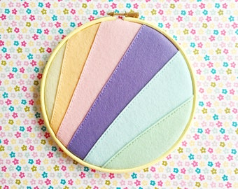 Pastel rainbow enamel pin holder // hand stitched felt embroidery hoop // wool felt // rainbow embroidery hoop
