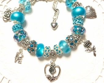 Love, Sweetheart and roses  European Style Charm Bracelet