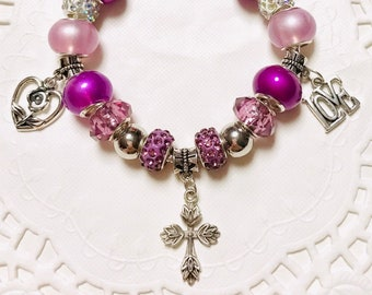 Purples and Lavender-European Style Charm Bracelet