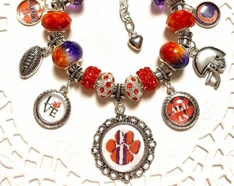 CLEMSON ALL IN- European Style Charm Bracelet