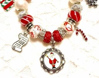 Santa Clause, Christmas Red, European Style Charm Bracelet
