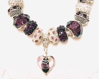 Purple Heart--European Style Charm Bracelet