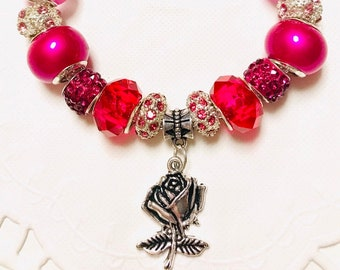 Pink Heart - European Style Charm Bracelet