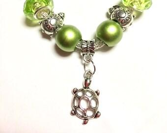 "6"" Turtle Lover European Style Charm Bracelet"