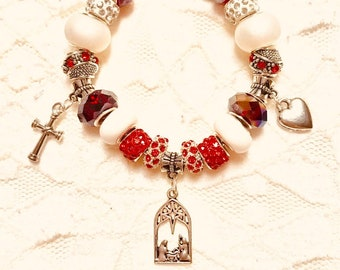 From the Manger to the Cross Red, European Style Charm Bracelet