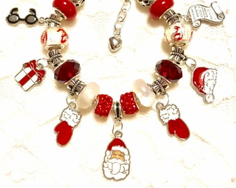 Santa Clause Suit Up, Christmas Red, European Style Charm Bracelet