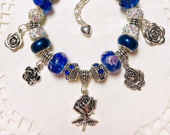 Blue Rose with - European Style Charm Bracelet