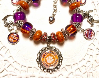 CLEMSON NATIONAL CHAMPIONS Handmade- European Style Charm Bracelet