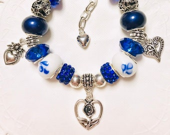 Royal Blue with Hearts - European Style Charm Bracelet