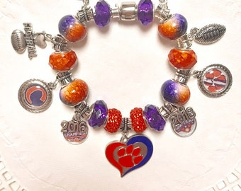 CLEMSON National Champions - 2016 & 2018!! European Style Charm Bracelet  ACC Champions 5 years in a row  Best Ever!!