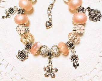Flowers-European Style Charm Bracelet