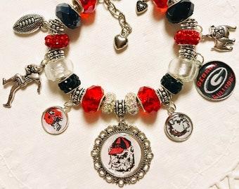Georgia Bulldogs- European Style Charm Bracelet