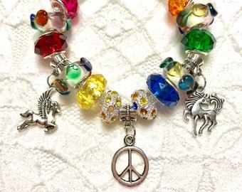 Rainbow Unicorn, European Style Charm Bracelet
