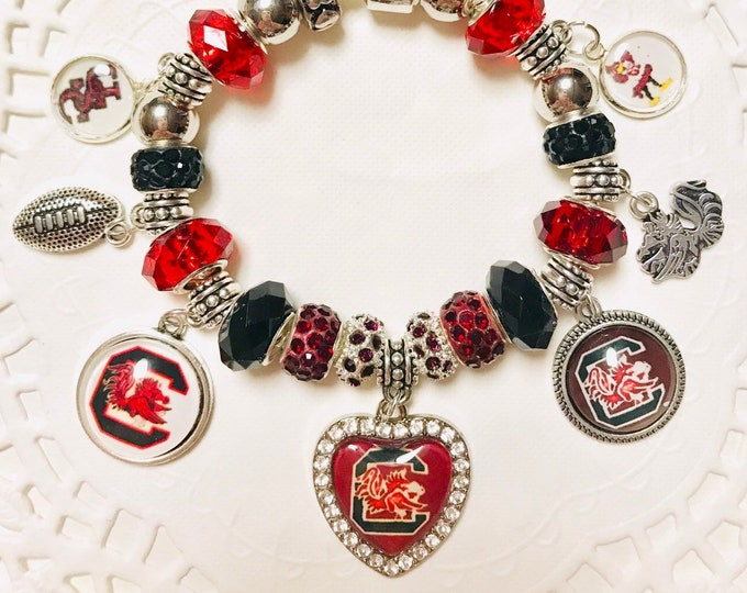 Featured listing image: SC Gamecock- Handmade European Style Charm Bracelet