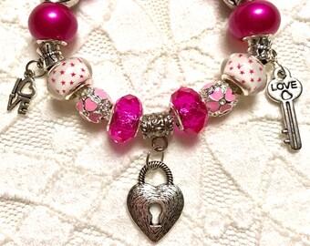 My Heart's Key, European Style Charm Bracelet