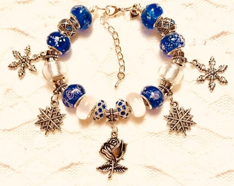 Christmas Time, Rose in the Snow, European Style Charm Bracelet