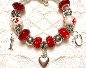 ILU Red, European Style Charm Bracelet