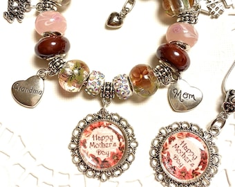 Roses with Love, European Style Charm Bracelet