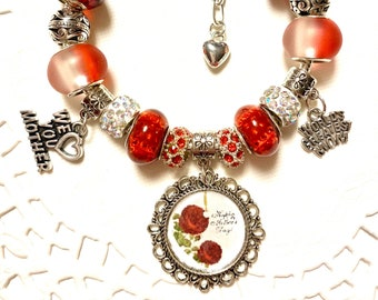 Mother's Day European Style Charm Bracelet - Red, World's Best Mom, We Love You Mother, Love
