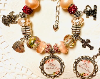 "Mother's Day Pink's European Style Charm Bracelet We Love You Mother. Matching Necklace 24"" Sterling Silver Chain 325."