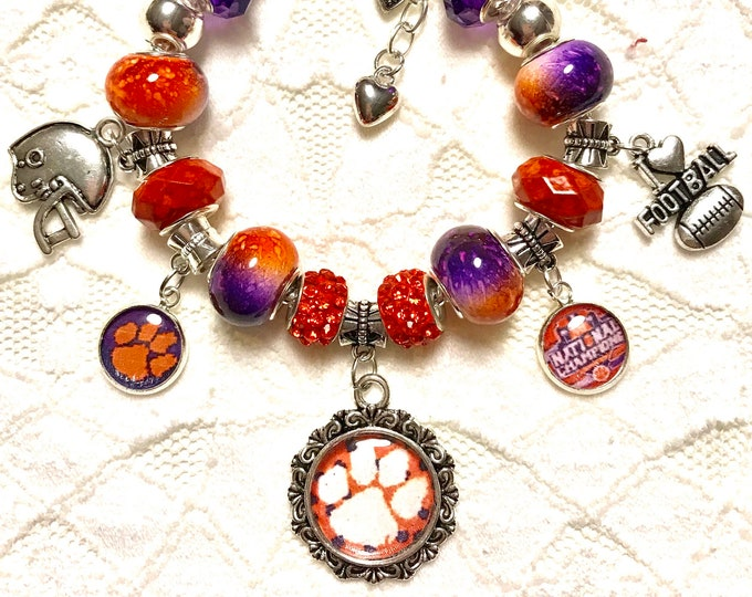 Featured listing image: CLEMSON ACC CHAMPIONS- European Style Charm Bracelet
