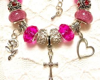 Cross Pink, European Style Charm Bracelet