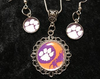 Clemson Tiger Paw Necklace Sterling Silver Chain 20, 22, or 24 inch, with matching Earrings