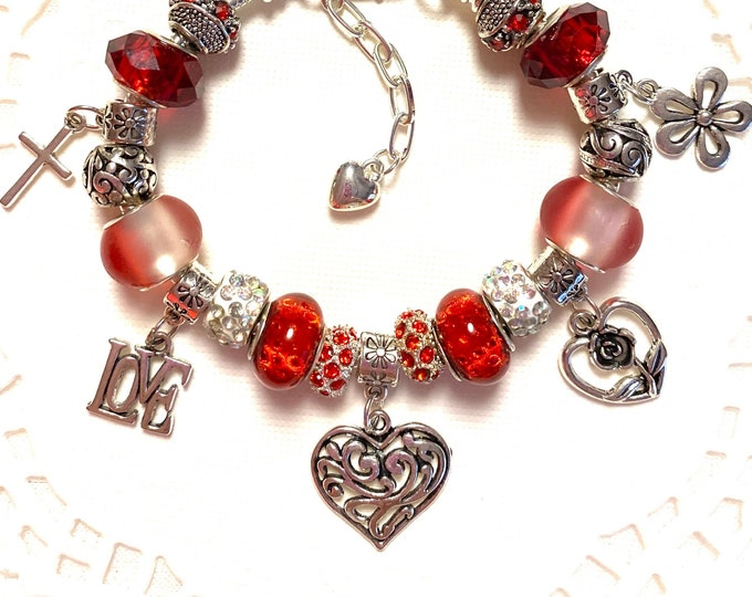 Featured listing image: European Style Charm Bracelet - Red Heart, Love