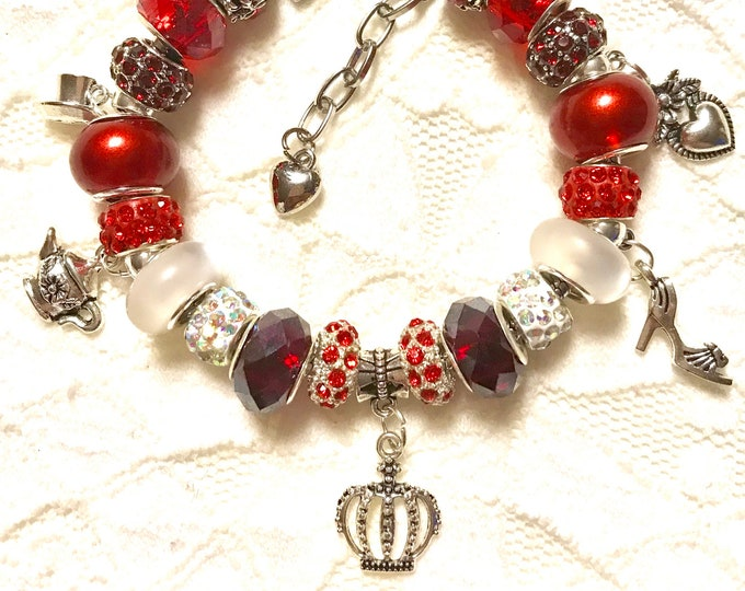 Featured listing image: Handmade European Style Charm Bracelet -Tea for the Queen