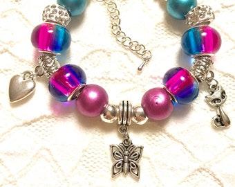 Butterfly Kitty, European Style Charm Bracelet