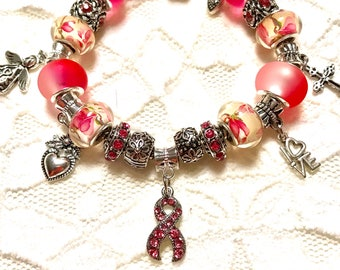 Breast Cancer Awareness 2, European Style Charm Bracelet