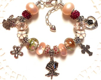 Blush Pink European Style Charm Bracelet, Pretty Roses