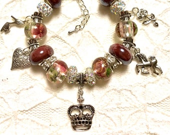 Crown and a Unicorn, European Style Charm Bracelet