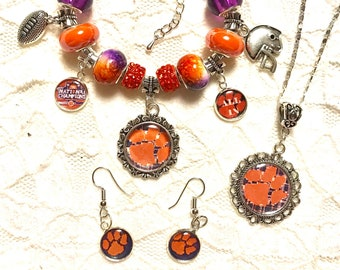 Clemson Set- Necklace, Earrings and a Charm Bracelet   Sterling Silver Necklace and Bracelet chain available in different sizes