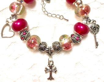 Pink Cross, European Style Charm Bracelet