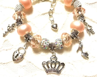Handmade European Style Charm Bracelet - Peach, Key to the Queens Heart