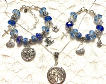 SPECIAL**Mother and Daughter Charm Bracelets - Blue and Necklace
