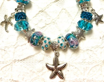 Love Starfish, European Style Charm Bracelet
