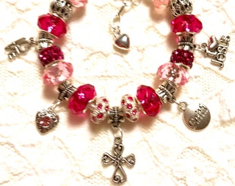 Pink Faith and Love for Jesus, European Style Charm Bracelet
