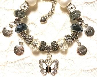 Black & White Butterfly Homemade European Style Charm Bracelet