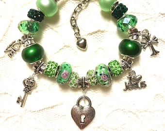 Jesus has the Key to My Heart- Green- European Style Charm Bracelet