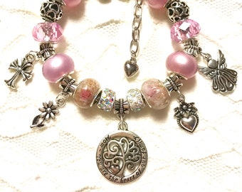 Pink European Style Charm Bracelet - Mom Family tree pendant (matching necklace also available) Great gift for Mom for any occasion!!