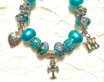 Love the Cross, European Style Charm Bracelet