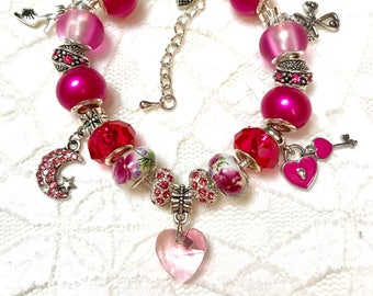 Pink Hearts and Love, European Style Charm Bracelet