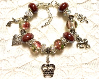 Crown and a Unicorn, European Style Charm Bracelet