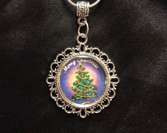 Christmas Tree Pendant Necklace- 925 Sterling Silver Chain