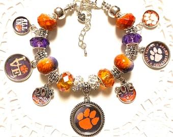 CLEMSON TIGERS!!European Style Charm Bracelet