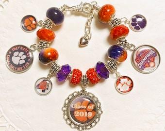 CLEMSON CLASS OF 2019 - European Style Charm Bracelet