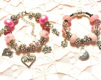 Mother and Daughter- European Style Charm Bracelets- Pink