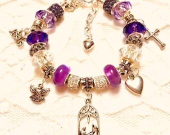 Christmas Manger, Purple, European Style Charm Bracelet